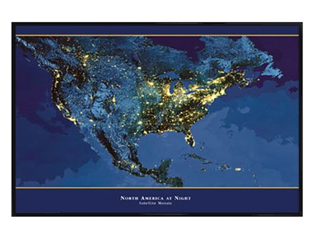 Gloss Black Framed Satellite Urbanization Image of North America - America At Night