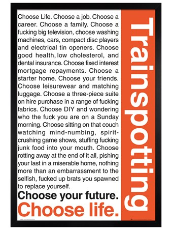 Black Wooden Framed Trainspotting, Choose your Life - Trainspotting