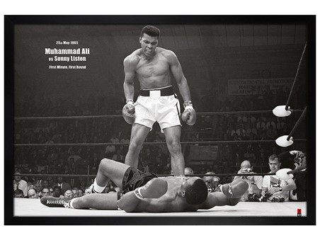 Black Wooden Framed Muhammad Ali vs. Sonny Liston - Muhammad Ali