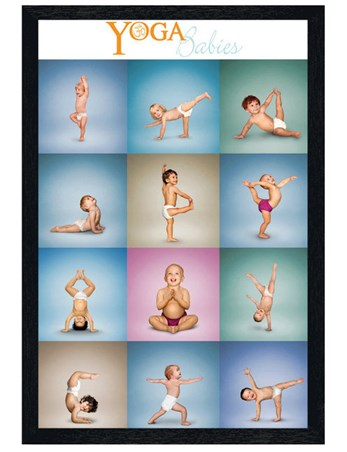Black Wooden Framed Yoga Babies Collage - Play Time