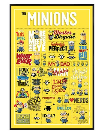 Gloss Black Framed Minions Infographic - Despicable Me