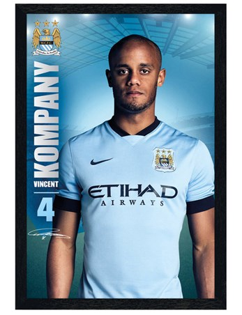 Black Wooden Framed Vincent Kompany - Manchester City Football Club