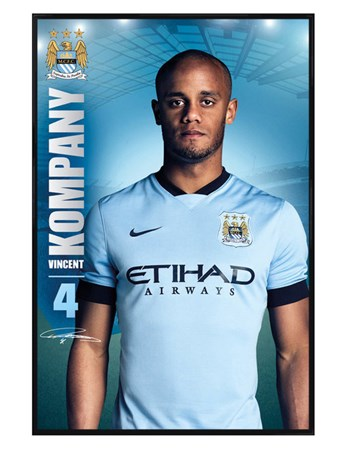 Gloss Black Framed Vincent Kompany - Manchester City Football Club