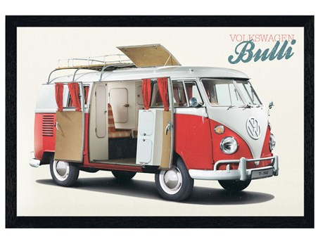 Black Wooden Framed Bulli - VW Camper