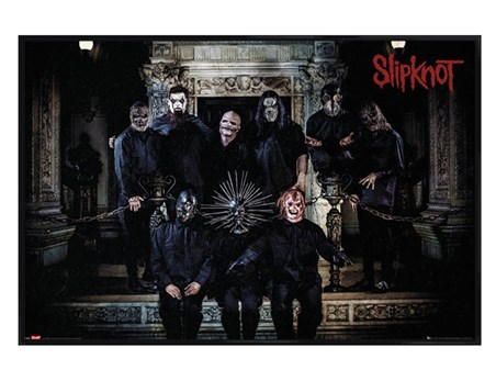Gloss Black Framed Slipknot Band Line Up - heavy metal band