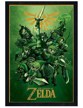 Black Wooden Framed The Legend Of Zelda - Nintendo