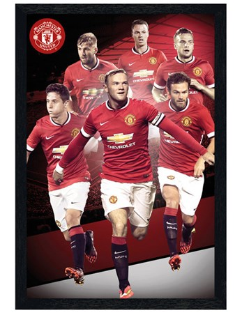 Black Wooden Framed Manchester United Star Players 2014/15 - Manchester United Football Club