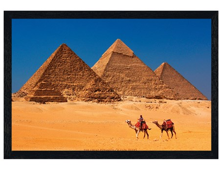 Black Wooden Framed Pyramids of Giza - Ancient Egypt
