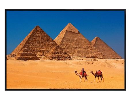 Gloss Black Framed Pyramids of Giza - Great Pyramid of Giza
