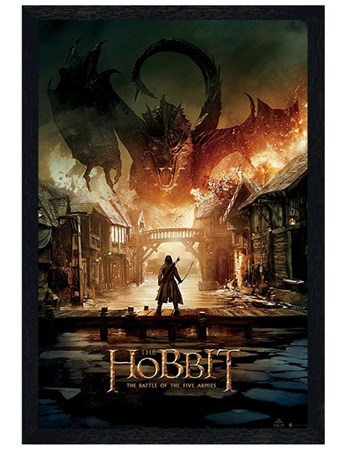Black Wooden Framed The Battle Of The Five Armies - The Hobbit