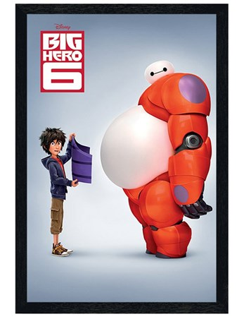 Black Wooden Framed Hiro & Baymax - Big Hero 6