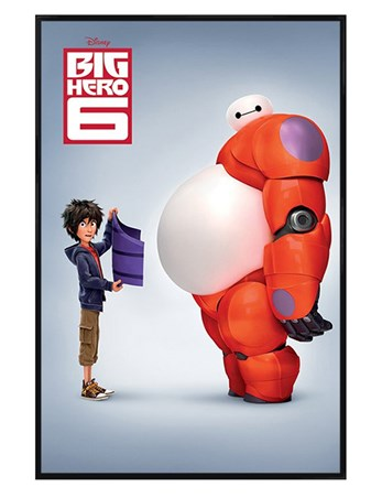 Gloss Black Framed Hiro & Baymax - Big Hero 6