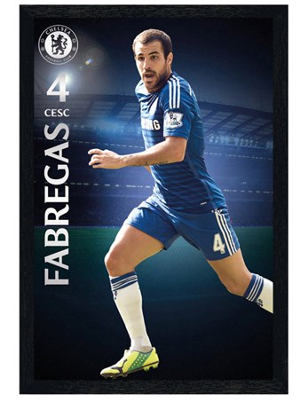Black Wooden Framed Cesc Fabregas - Chelsea Football Club