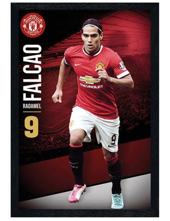 Framed Black Wooden Framed Radamel Falcao - Manchester United Football Club