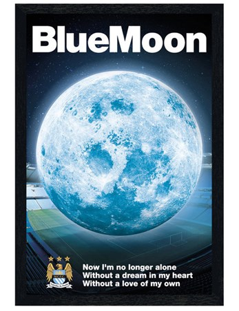 Black Wooden Framed Blue Moon - Manchester City Football Club