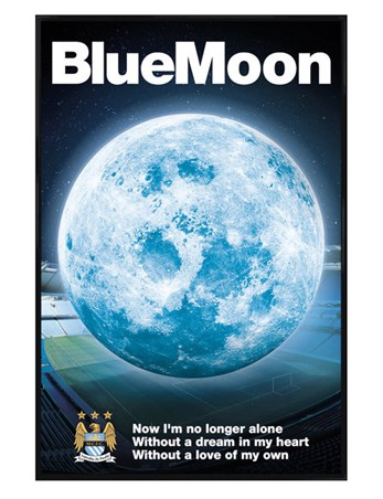 Gloss Black Framed Blue Moon - Manchester City Football Club