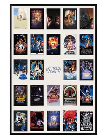 Gloss Black Framed Star Wars Collage - May the Force be with you