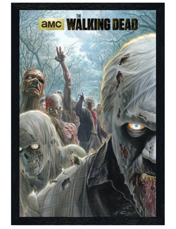 Black Wooden Framed Zombie Hordes - The Walking Dead