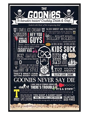 Framed Gloss Black Framed The Goonies Typographic - Treasure Quest