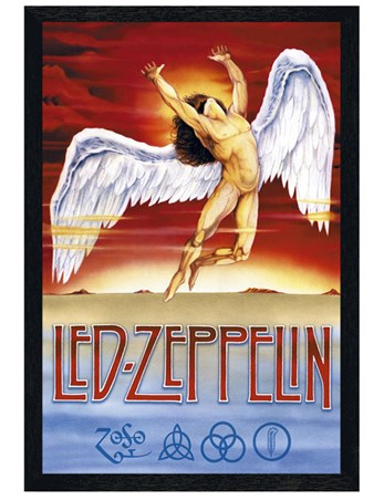 Black Wooden Framed Swan Song - Led Zeppelin