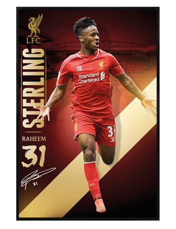 Gloss Black Framed Raheem Sterling - Liverpool Football Club