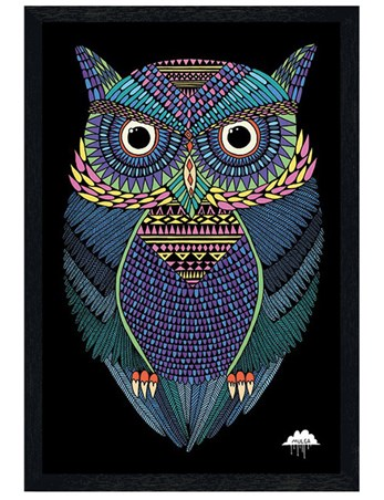 Black Wooden Framed Michael The Magical Owl - Mulga
