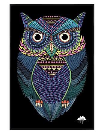 Gloss Black Framed Michael The Magical Owl - Mulga