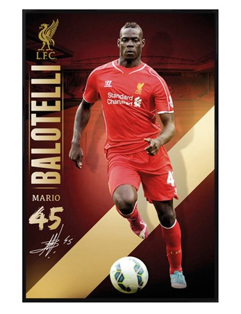 Framed Gloss Black Framed Mario Balotelli - Liverpool Football Club