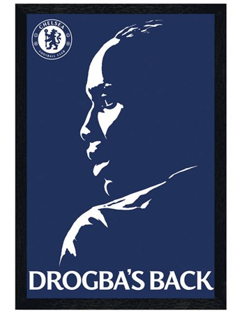 Black Wooden Framed Drogba's Back - Chelsea Football Club