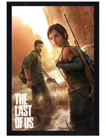 Black Wooden Framed The Last Of Us - Ellie and Joel
