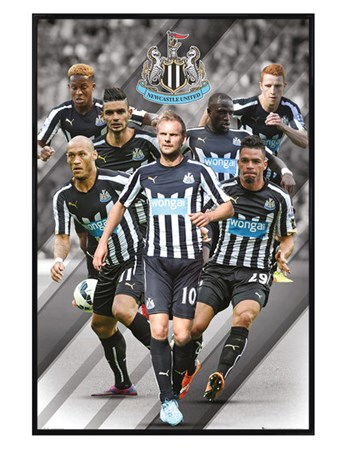 Gloss Black Framed Star Players - Newcastle United Football Club 2014/15