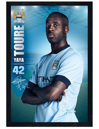 Black Wooden Framed Yaya Toure - Manchester City Football Club