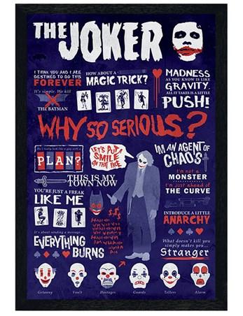 Black Wooden Framed Joker Quotographic - Batman The Dark Knight