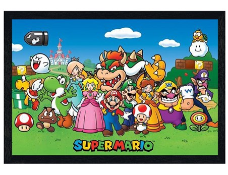 Black Wooden Framed Super Mario Collage - Retro Computer Game