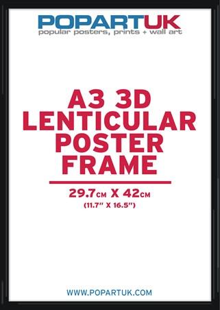 29.7x42cm Gloss Black Poster Frame - A3 Lenticular