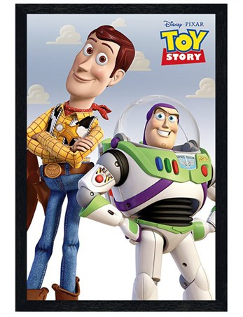 Black Wooden Framed Woody & Buzz - Toy Story