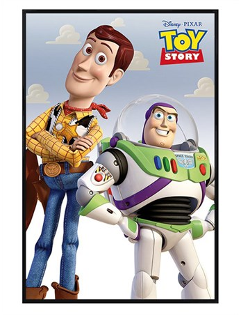 Gloss Black Framed Woody & Buzz - Toy Story