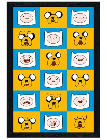 Black Wooden Framed Jake And Finn Expressions - Adventure Time