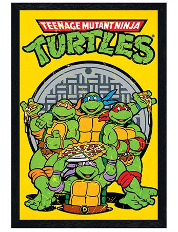 Black Wooden Framed Pizza Power - Teenage Mutant Ninja Turtles