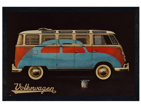 Black Wooden Framed Volkswagen - VW Camper