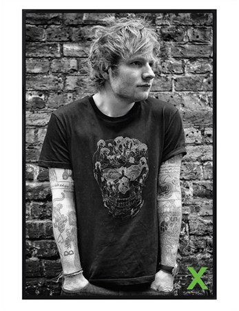 Gloss Black Framed Ed Sheeran Skull -