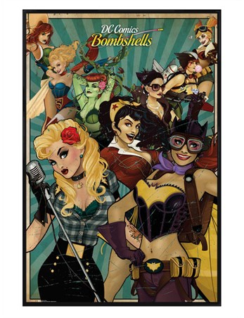 Gloss Black Framed Bombshells - DC Comics
