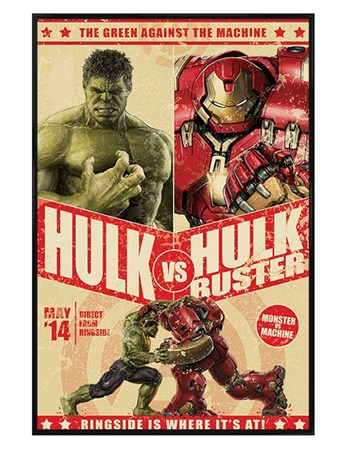 Framed Gloss Black Framed Hulk Vs Hulkbuster - Marvel's Avengers Age Of Ultron