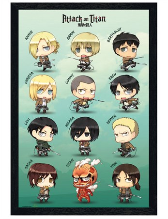 Black Wooden Framed Chibi Characters - Attack On Titan