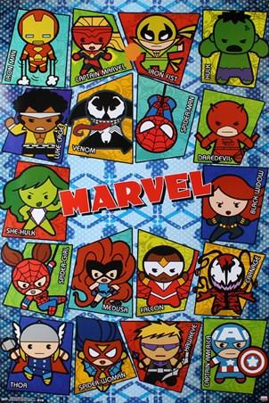 Framed Kawaii Grid - Marvel