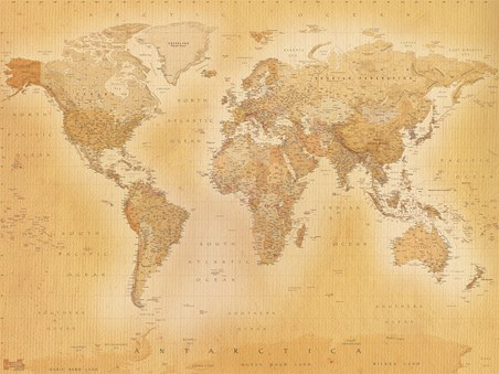 World Map Vintage Wall Mural Buy Online - World maps online