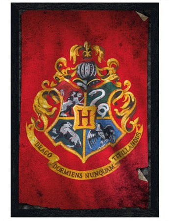 Black Wooden Framed Hogwarts Flag - Harry Potter
