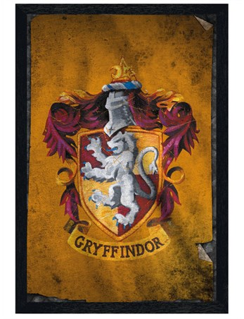 Black Wooden Framed Gryffindor Flag - Distressed Effect
