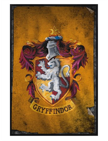 Gloss Black Framed Gryffindor Flag, Harry Potter