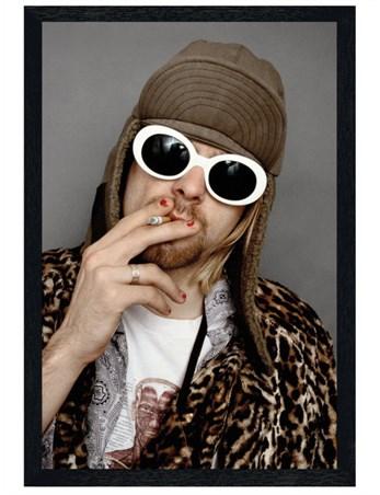 Black Wooden Framed Kurt Cobain - Smoking